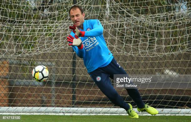 City goalkeeper Eugene Galekovic makes a save during a Melbourne City ALeague training session on November 16 2017 in Melbourne Australia