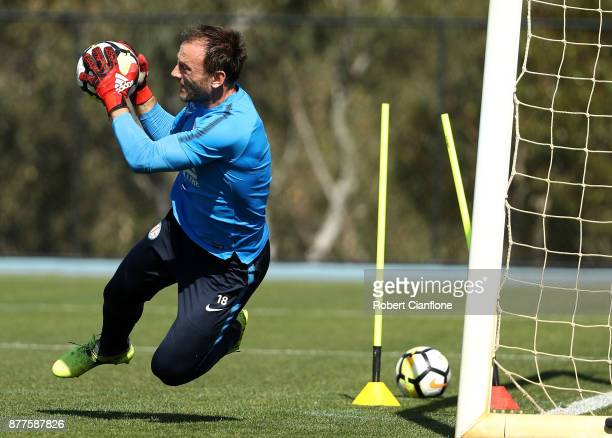 City goalkeeper Eugene Galekovic makes a save during a Melbourne City ALeague training session at City Football Academy on November 23 2017 in...