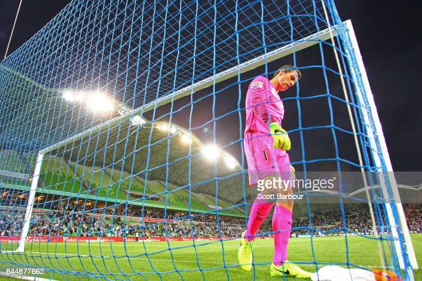 City goalkeeper Thomas Sorensen reacts during the round 21 ALeague match between Melbourne City and Sydney FC at AAMI Park on February 24 2017 in...