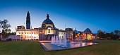 Cardiff City Hall (1906) and fountains at night in the heart of the capital, city Museum to the right. ProPhoto RGB for precise colour reproduction.