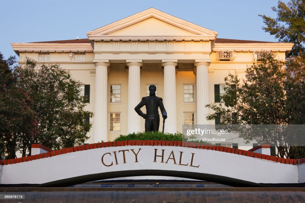 City Hall facade and statue, Jackson, Mississippi, United States