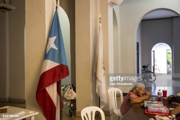 City Hall in Old San Juan has been converted to a shelter as residents prepare for a direct hit from Hurricane Maria on September 19 2017 in San Juan...