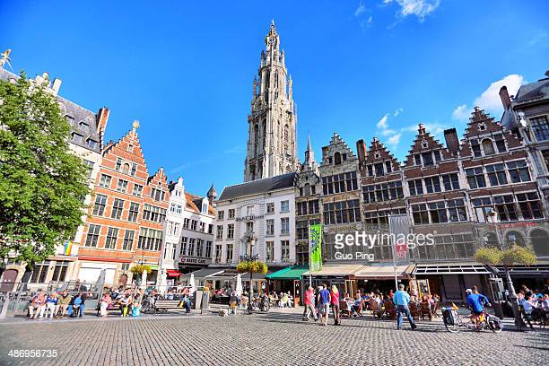 city hall in town squareofficial building with flag brussels located grand place in Antwerp of Belgium