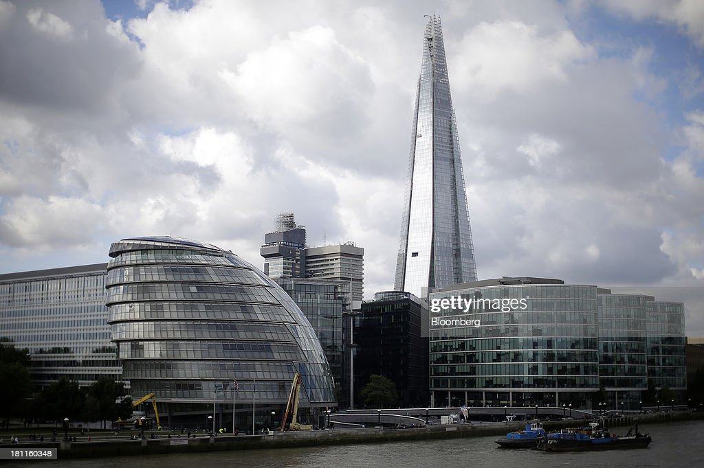 City hall, left, and the More London development, right, stand on the south bank of the River Thames as the Shard tower rises beyond in London, U.K., on Wednesday, Sept. 18, 2013. U.K. commercial real estate values rose for the fourth straight month in August, led by office buildings and warehouses, Investment Property Databank Ltd. said. Photographer: Matthew Lloyd/Bloomberg via Getty Images