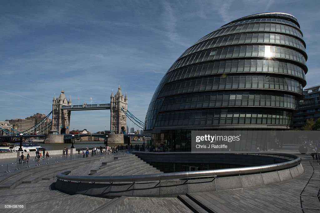 City Hall, the headquaters of the Mayor of London and the London Assembly on the southbank of the River Thames as Londoners vote for a new Mayor on May 5, 2016 in London, United Kingdom. Today,dubbed 'Super Thursday',sees the British public vote in countrywide elections to choose members for the Scottish Parliament, the Welsh Assembly, the Northern Ireland Assembly, Local Councils, a new London Mayor and Police and Crime Commissioners. There are around 45 million registered voters in the UK and polling stations open from 7am until 10pm.