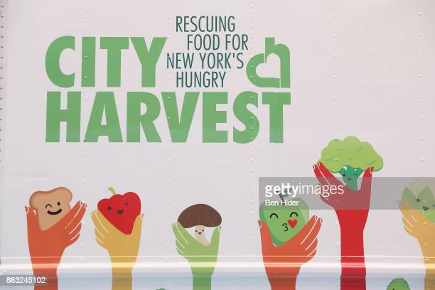 City Harvest logo is seen during City Harvest's 23rd Annual BID at Metropolitan Pavilion on October 19 2017 in New York City