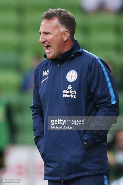 City head coach Warren Joyce gives instructions during the round three ALeague match between Melbourne City and the Wellington Phoenix at AAMI Park...