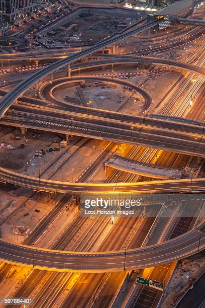 City highways and flyovers at night, downtown Dubai, United Arab Emirates