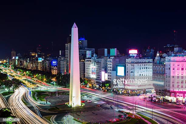 A city landmark, obelisk on Ave 9 de Julio, night