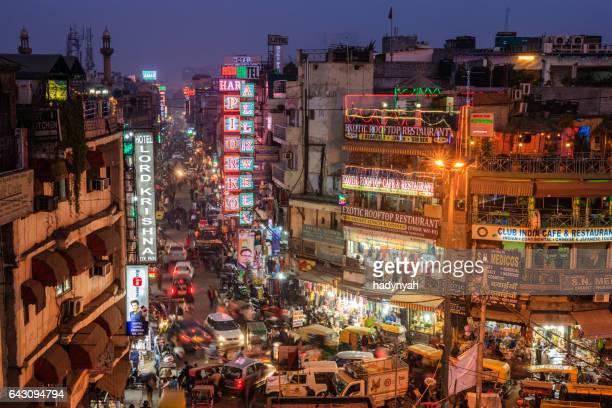 City life- Main Bazar by night, Paharganj, New Delhi, India