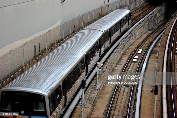 city life scene - train and tracks