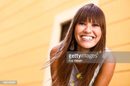 City life series: young woman posing at camera : Stock Photo