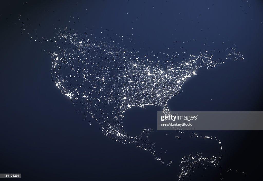 USA City Light Map : Stock Photo
