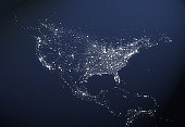 USA City Light Map
