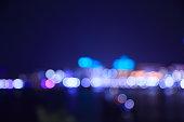 City night lights bokeh of singapore blurred background