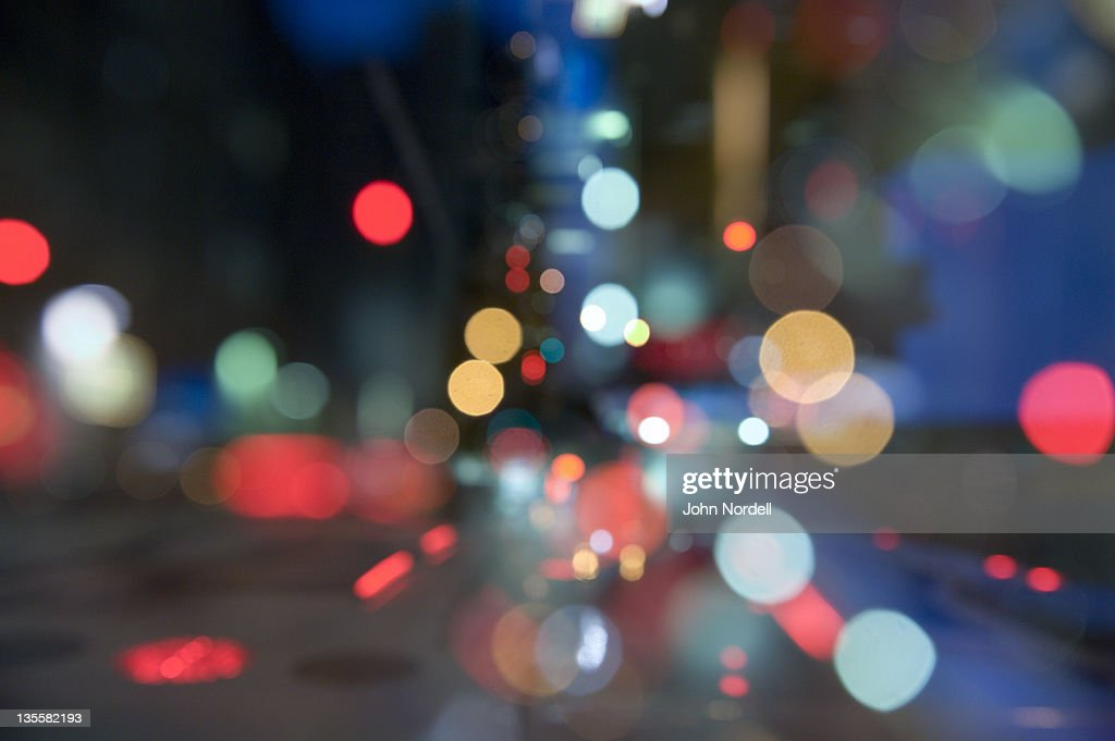 City lights near Times Square, New York, New York : Stock Photo