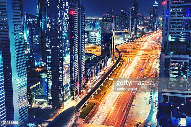 City lights of Dubai downtown