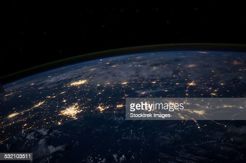 City lights of the Southern United States.