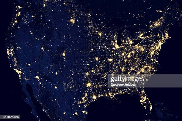 City lights of the United States at night.