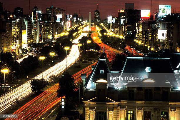 City lights on French Consulate & Avenida 9 De Julio with Obelisk, Buenos Aires, Argentina