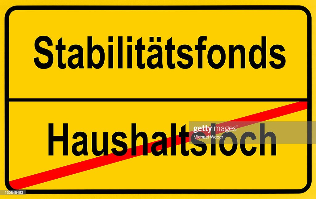 City limits sign, symbolic image, end of the budget gap by European Stability Funds