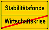 City limits sign, symbolic image, end of the economic crisis by European Stability Funds