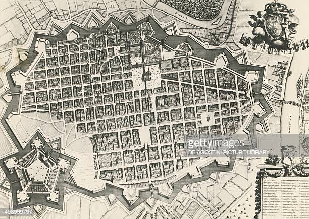 City map of Turin with its citadel engraving from Theatrum is Statuum Sabaudiae 17th century Turin Biblioteca Reale