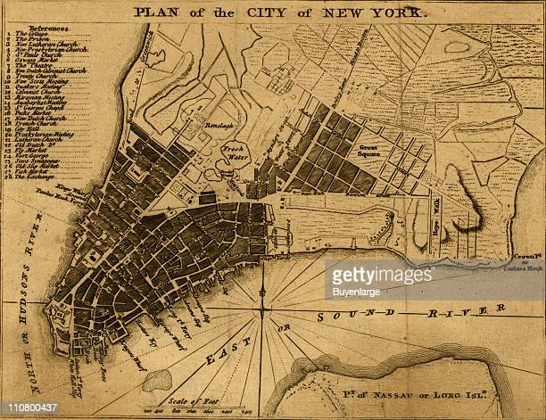 City map shows streets wharves ferries principal buildings and built up area New York New York 1776 Illustrated by London Magazine
