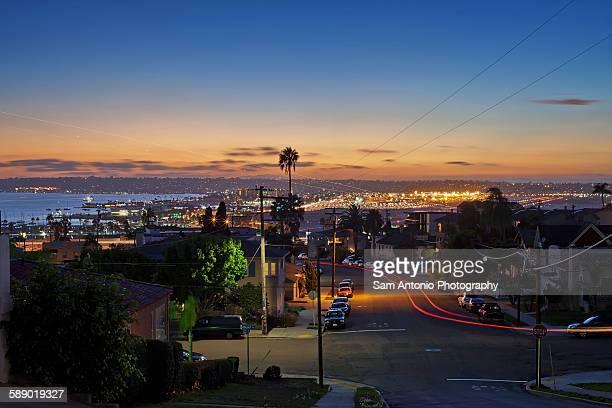 City Neighborhood Night View of Airport Runway