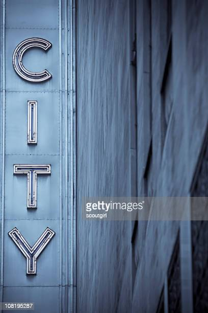 city neon sign with building in blue tones