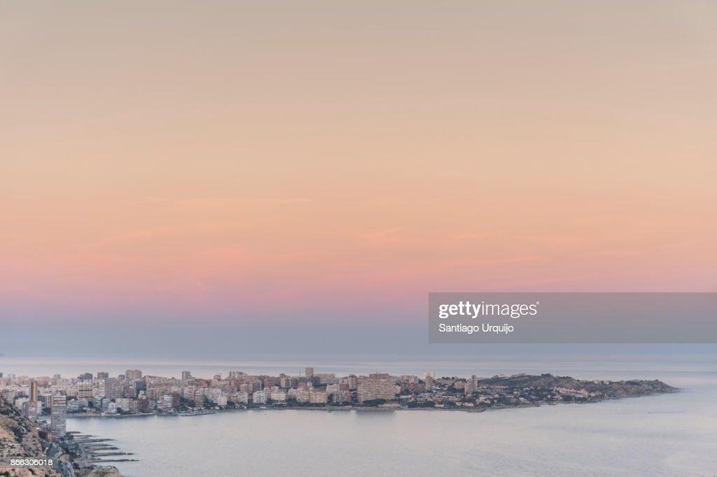City of Alicante alongside the Mediterranean Sea at sunset, Valencia Region, Spain