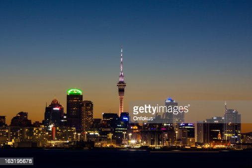City of Auckland Skyline at Sunset, New Zealand