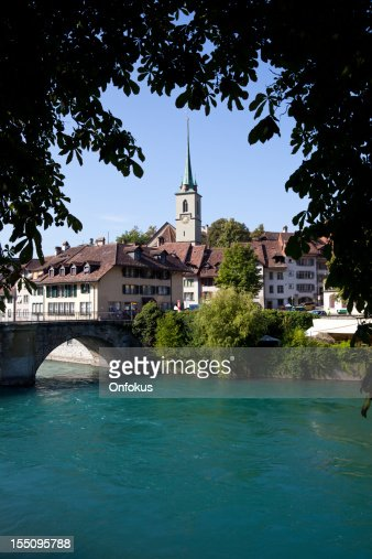 City of Bern with Lake, View From a Bridge, Switzerland