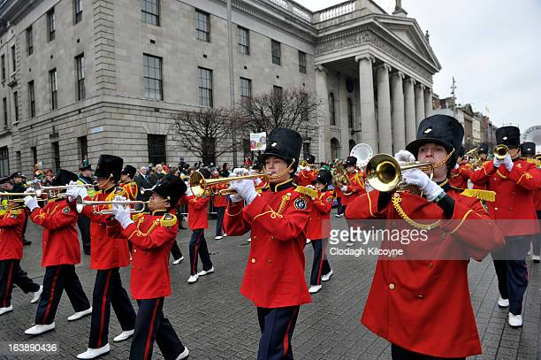 City of Burlington and USA brass band take part in the St Patrick's Day parade on March 17 2013 in Dublin Ireland More than 100 parades are being...