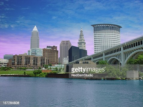 City Of Cleveland and Cuyahoga River.