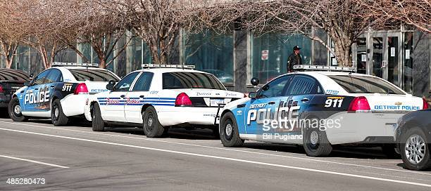 City of Detroit Police vehicles are parked in front of their precinct April 17 2014 in Detroit Michigan Today US Bankruptcy Judge Steven Rhodes will...