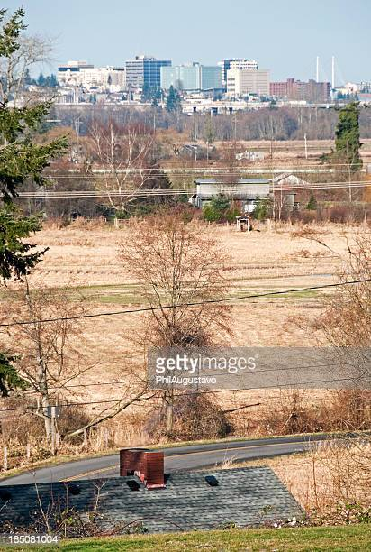 City of Everett WA from fields across Snohomish River