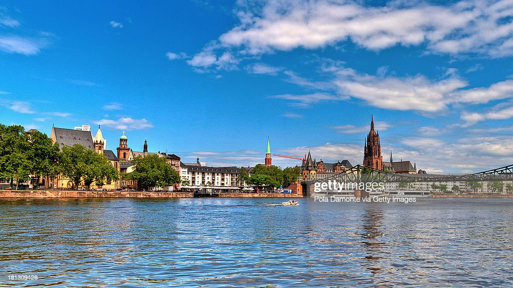 City of Frankfurt from Main River view Germany