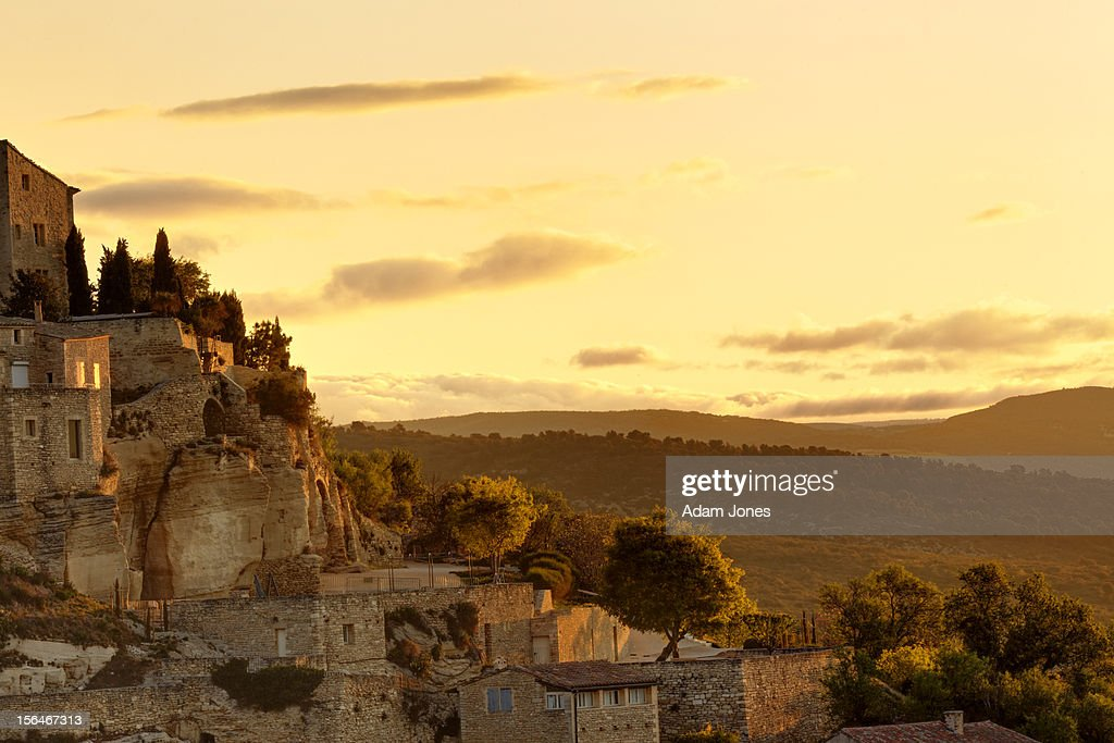 City of Gordes at sunrise : Stock Photo