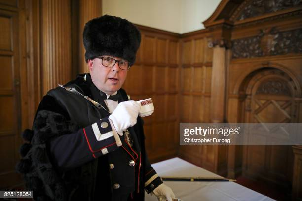 City of Hull's Lord Mayor's beadle Nicholas Head grabs a last minute cup of tea as Mayors and Lord Mayors from cities and towns across Yorkshire...