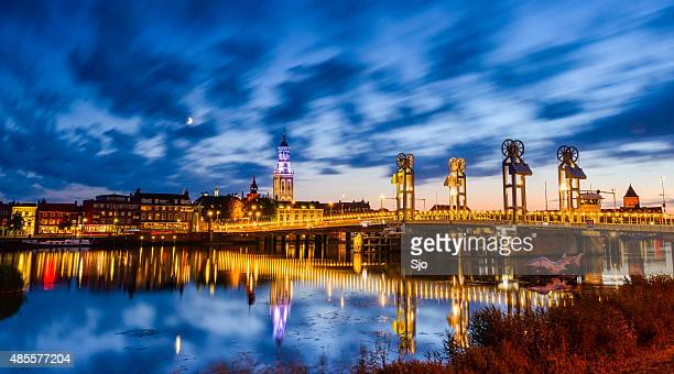 City of Kampen at the river IJssel during the night