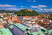 City of Ljubljana center aerial view, capital of Slovenia