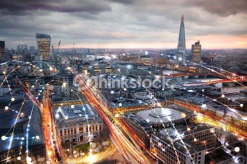 Stadt Von London Bei Sonnenuntergang Und Geschäftliche