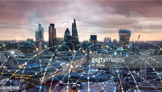 City of London at sunset. Illustration with communication and business icons, network connections concept. : Foto de stock