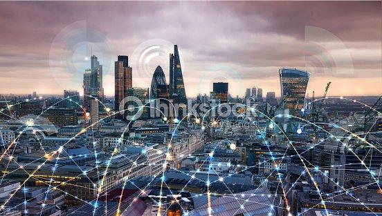 Stadt Von London Bei Sonnenuntergang Abbildung Mit
