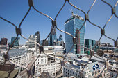 City of London Behind wire net at the top of the Monument, London