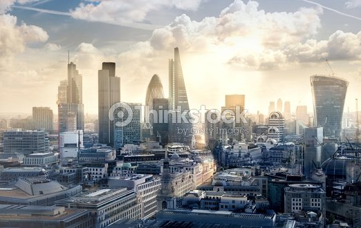 City of London business and banking aria at sunset : Stock Photo