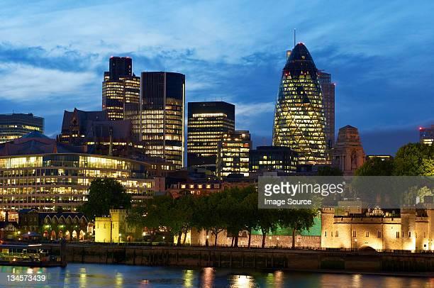 City of London, illuminated at night