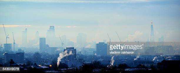 City of London in fog view