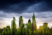 City of London, one of the leading centres of global finance, covered with forest. Green London /  double exposure.